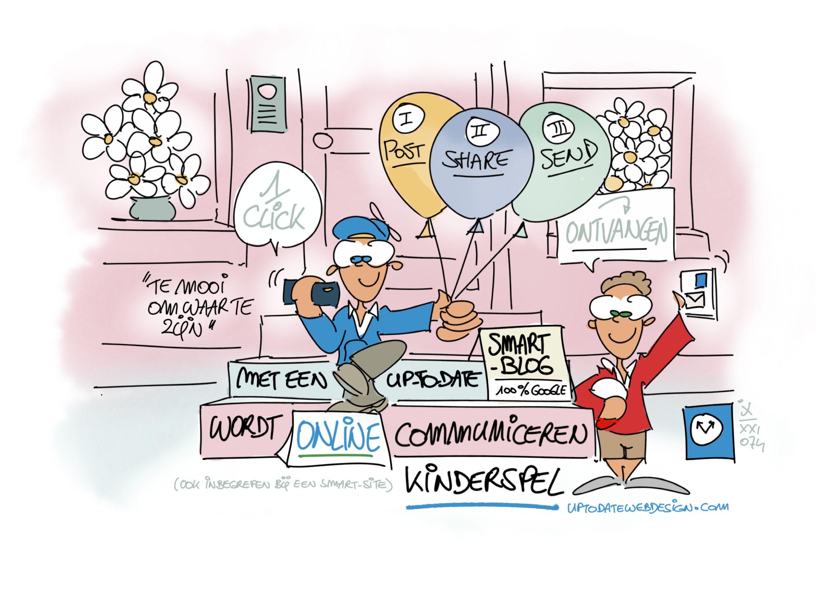 UP-TO-DATE Cartoon 074 - Met een Smart-Blog wordt online communiceren kinderspel - Ivan Jans.PNG